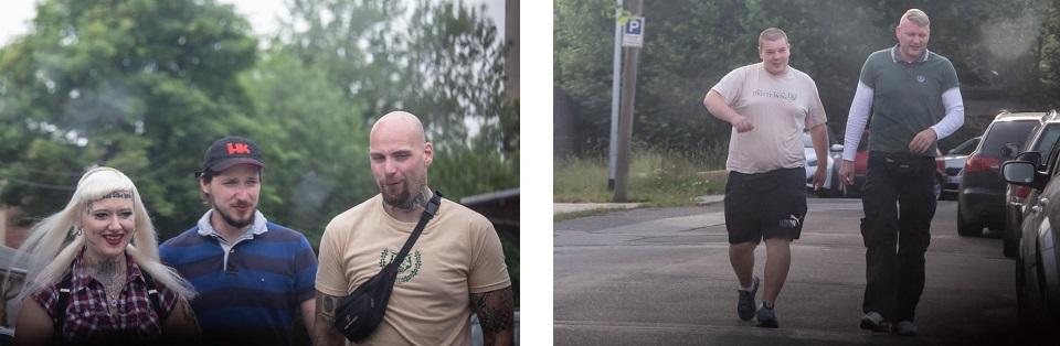 """Linkes Bild: Einer der Kämpfer, hier im beigen Shirt der """"AG Körper & Geist"""", kennzeichnend durch den stilisierten Wolfskopf im Ehrenkranz. Mit ihm reiste eine Besucherin an, die eine Kette mit der verbotenen Wolfsangel trug, rechtes Bild: Sascha Rudisch (rechts, Der III. Weg) (Quelle: Pixelarchiv)"""