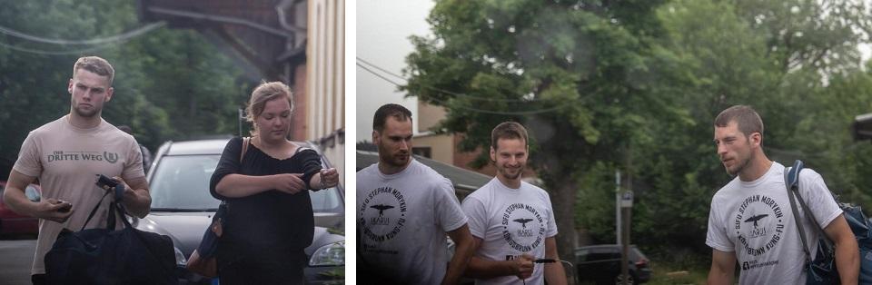 "Linkes Bild: Michél Sajovitz im Shirt des III. Weges, rechtes Bild: Das Team der ""Ikarus Kampfkunst Akademie"" (v.l.n.r. Raphael Ernst, Christian Altegger, Simon Menhard (Quelle: Pixelarchiv)"