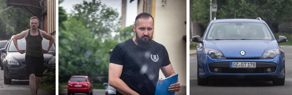 Linkes Bild: Rico Hentschel (NPD), mittleres Bild: David Dschietzig (Leipzig), rechtes Bild: Benjamin Leine und Nicki Schwake auf der Suche nach einem Parkplatz (Quelle: Pixelarchiv)