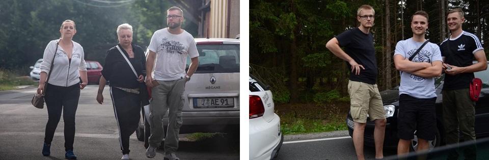 """Linkes Bild: Jörg Endesfelder (rechts, """"Nationale Sozialisten Chemnitz""""), rechtes Bild: Martin Pfeil (im Bronson-Shirt, 2.v.l.) wartend vor der Polizeikontrolle (Quelle: Pixelarchiv)"""