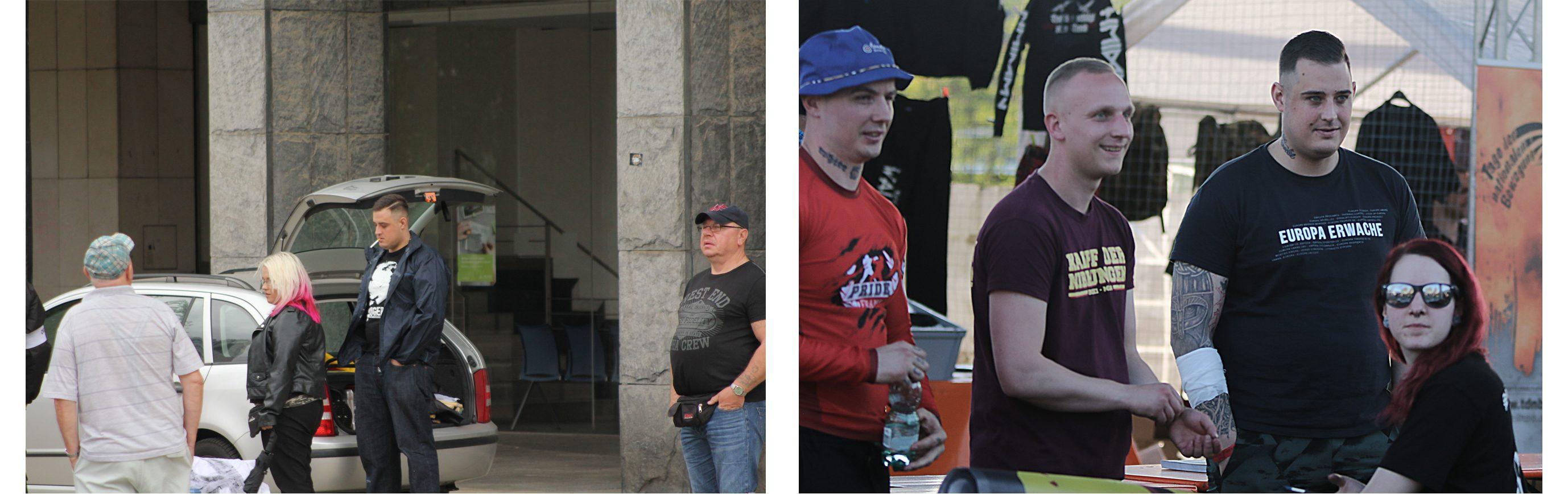 Linkes Bild: Tim Kühn am 21.09.2018 beim Aufmarsch von Pro Chemnitz Rechtes Bild: v.l.n.r. Tomasz Skatulsky (Frankreich), Jim Koal (Dortmund, Ex-Chemnitz), Tim Kühn (Chemnitz), Marina Liszczewski (Dortmund)