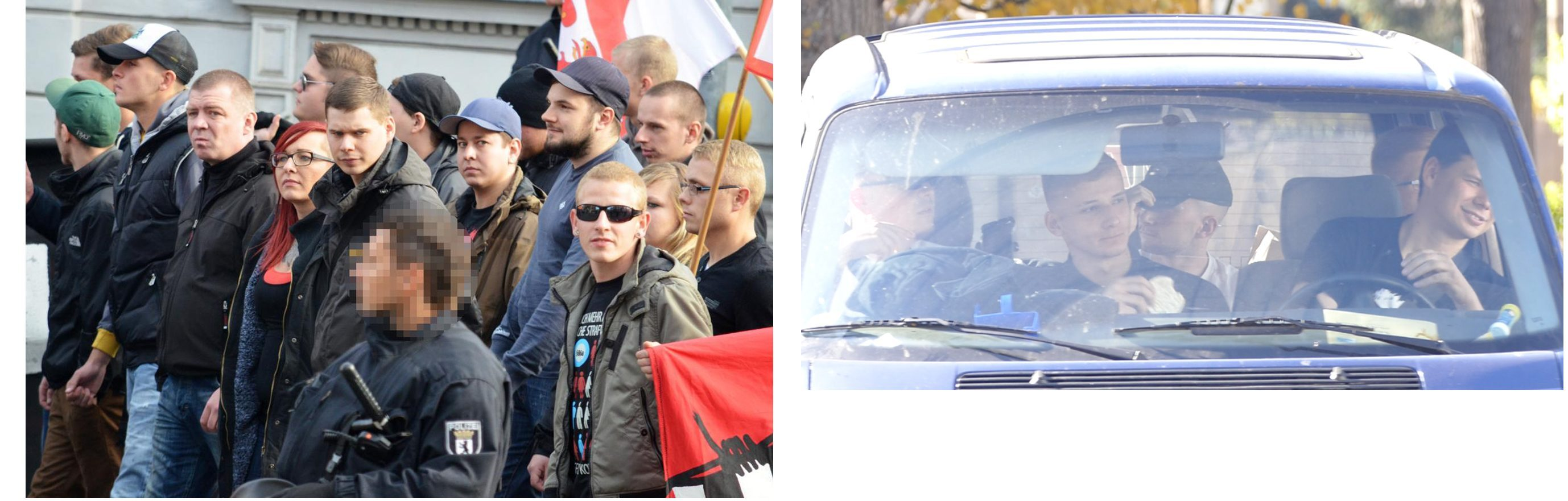 Links: Robert Andres bei einem JN-Aufmarsch 2013 in Döbeln (Quelle: Pixelarchiv) Rechts: Robert Andres als Fahrer des Tiwaz-Teams am 18.10.18 in Ostritz. Vom Betrachter aus hinten links: Eric Fröhlich, rechts Max Hetzner