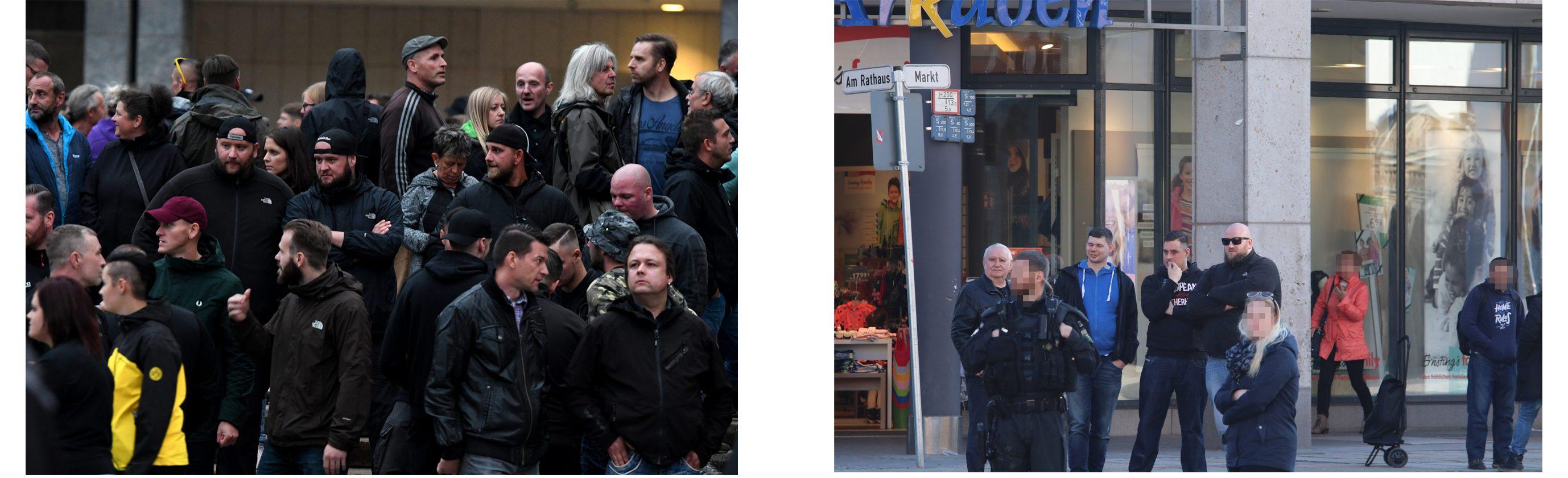 links: Stephan Heinl am 01.09.2018 in Chemnitz (Quelle: Recherche Nord), rechts: Stephan Heinl mit Sonnenbrille am 18.02.2018 in Chemnitz (Quelle: Tim Mönch)