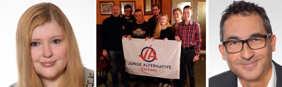 Links: Diana Rabe, Mitte: Junge Alternative Chemnitz (v.l.n.r.: Nico Köhler, unbekannt, Sören Schwarzer, unbekannt, Diana Rabe, Fabian Keubel (Dresden), Jan Endert (Dresden)), Rechts: Wolfgang Pleß