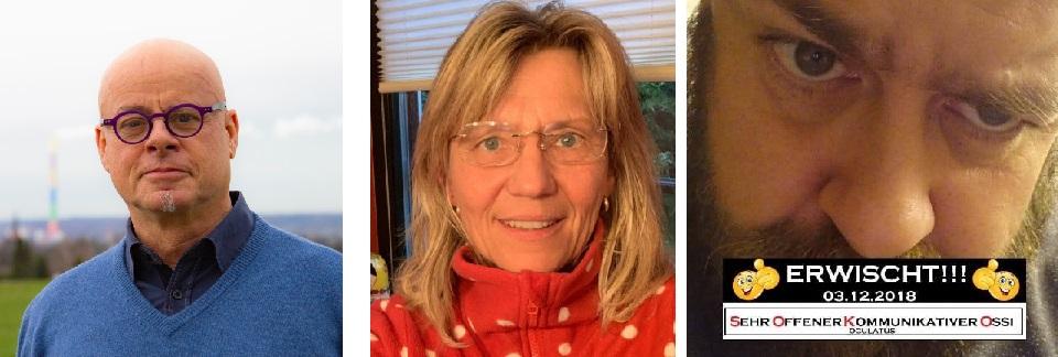Links: Dieter Jörg List, Mitte: Bettina Rehnert, Rechts: David Richter