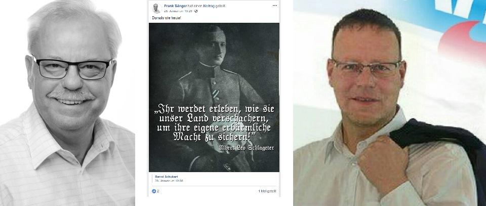 Links: Frank Sänger, Mitte: Frank Sänger postet Zitat von Albert Leo Schlageter, Rechts: Lars Kuppi