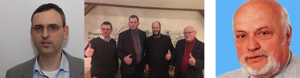 Links: Jan Weinhold, Mitte: Jan Weinhold, Benjamin Przybylla, Martin Kohlmann und Reiner Drechsel bei einem ADPM-Treffen in Dohma, Rechts: Wolfgang Zirotzki