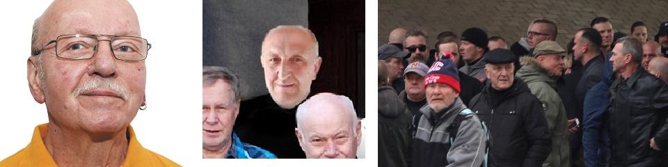 Links: Joachim Zschocke, Mitte: Dietmar Meissner, Rechts: Dietmar Meißner auf der Beerdigung von Thomas Haller