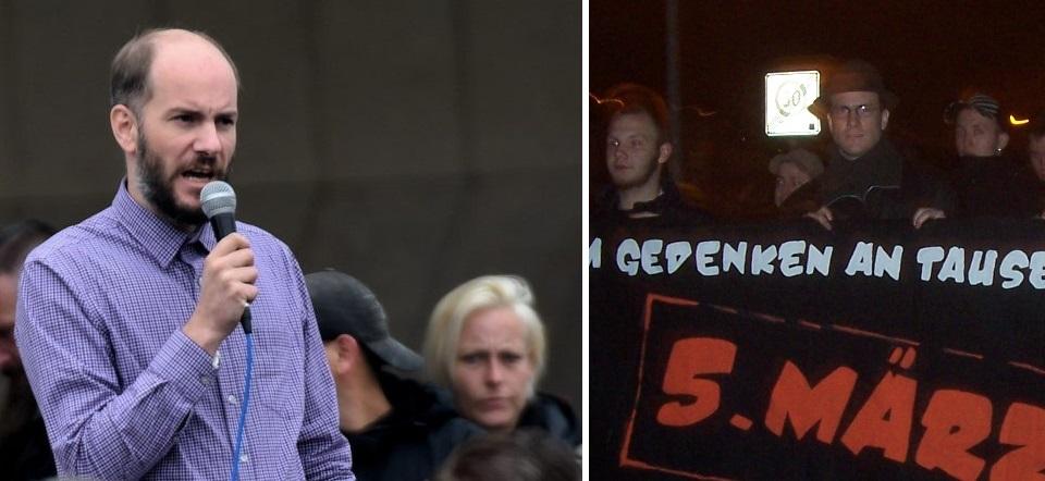 Links: Martin Kohlmann am 03.09.18 auf dem Pro-Chemnitz-Aufmarsch am Karl-Marx-Monument, Rechts: Kohlmann als Teilnehmer eines neonazistischen Trauermarsches am 05.03.2010 in Chemnitz