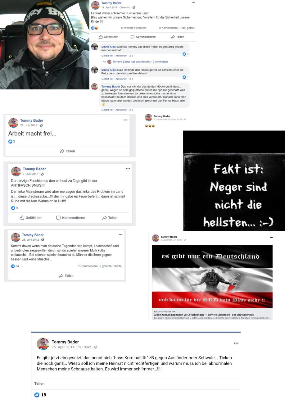 Tommy Bader und seine neonazistischen Facebook-Posts